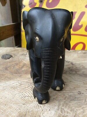 Vintage Carved Wooden Elephant - Art Deco Or Earlier