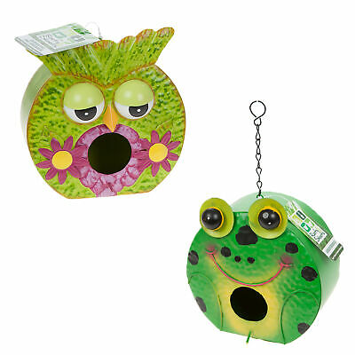 Metal Garden Birdhouse Colourfully Hand Painted - Owl or Frog