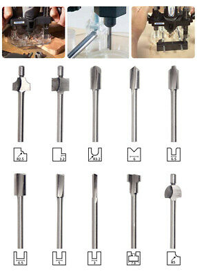 """High-speed 1/8"""" Woodworking Mini Shank HSS Titanium Router Bits For Rotary Tool"""
