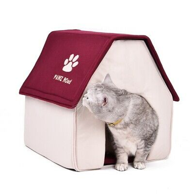 Folding Small Indoor Fabric Pet Cat Puppy Dog House Home Shelter Kennel Bed Cave
