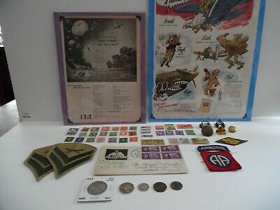 Vintage junk drawer US WWII Advertising Silver coins Stamps and Lots more