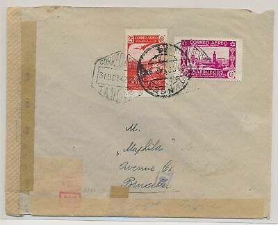 LK51417 Morocco 1942 to Brussels Belgium censored cover used