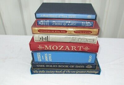 Job Lot Folio Society Books Ulysses, Mozart, Greatest Paintings, Poems, Etc..
