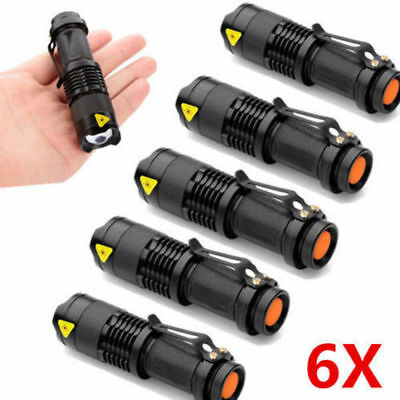 6 CREE Q5 Torch 1200LM LED Bright Flashlight  Zoomable Focus  Light AA/14500