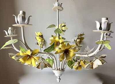 Mid-Century Italian Tole Flower Chandelier-6 Lights