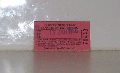 1986 NSW Train ticket - Sydney Pensioners Excursion - Issued at Wollstonecraft