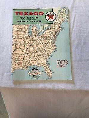 Vintage 1959 Texaco Oil 49 State Rand Mcnally Road Atlas Map