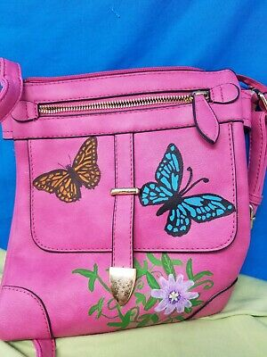 Hand painted Upcycled Purse With Adjustable Strap passion flower & butterflies