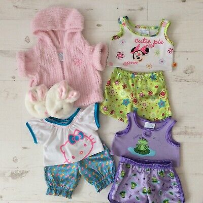 Build A Bear~Bundle Sleepwear~Minnie Mouse~Hello Kitty~Frog~Slippers~Gown