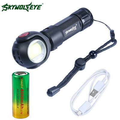360° Rotatable T6 + COB Tactical Military LED Flashlight USB Rechargeable Torch
