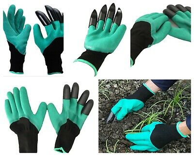 Hot Genie Garden Gloves Digging Planting With 4 ABS Plastic Claws Gardening New