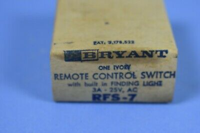 New Old Stock Bryant RFS-7  Ivory Remote Control Switch 3A-25V AC **RARE**