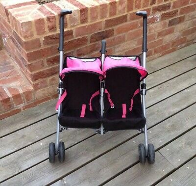 Silver Cross Toy Double Buggy Pushchair For Dolls Pink & Black Great Condition