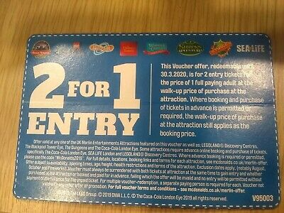 2 for 1 ADULT ENTRY ALTON TOWERS THORPE PARK SEA LIFE BLACKPOOL TOWER EYE & MORE