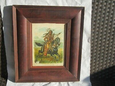 Antique 19th Century Ogee Frame w/ 1900 McLoughlin Litho Print Native American