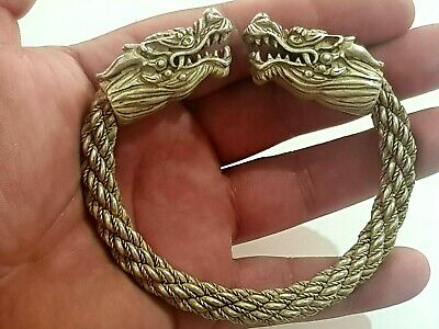 Massive Extremely Rare Intact Medieval Silver Bracelet/Dragons Head.115 Gr.85 Mm