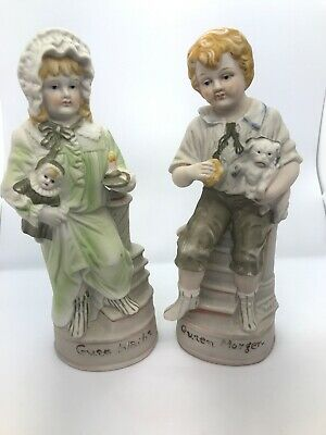 "Antique German Bisque Porcelain Figurines Boy And Girl Pair 10"" Inches"