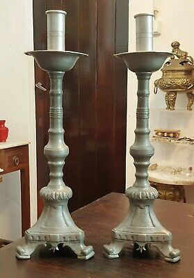 An Extremely Rare Pair Of Early 17Th C Pewter Capstan Candlesticks
