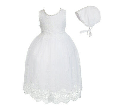 Baby Girls White Lace Christening Gown Dress with Bonnet 0 3 6 9 12 18 Months