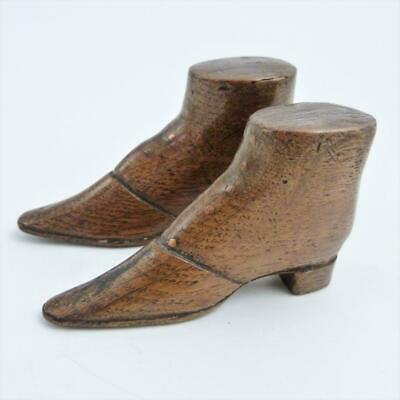 19th CENTURY TREEN CARVED WOODEN MODEL OF A PAIR OF ANKLE BOOTS