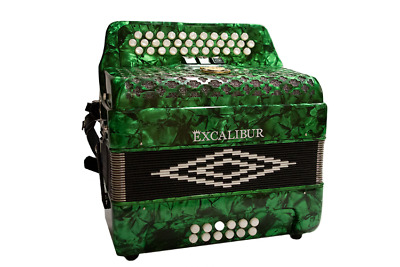 Excalibur Super Classic PSI 3 Row Button Accordion 3 Switch - Green