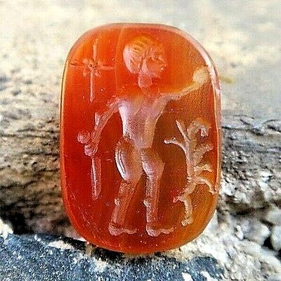 ANTIQUE Carnelian Roman Intaglio HERCULES & HYDRA Multi-Headed Snake Stamp Stone