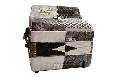Excalibur Super Classic PSI 3 Row Button Accordion 3 Switch - White/Gray