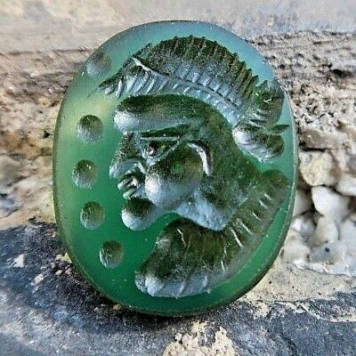 ANTIQUE Green Agate Roman Intaglio Side Face King with Powerful Eyes Stamp Stone
