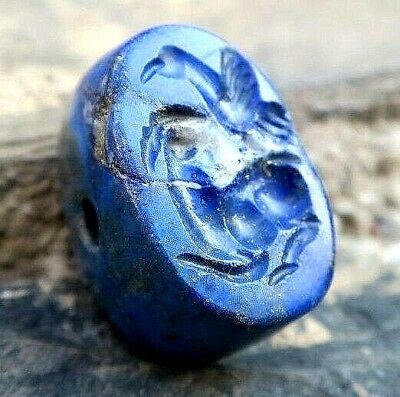 ANTIQUE Lapis Roman Intaglio Lying Stag and Flying Eagle Dome Signet Stamp Bead
