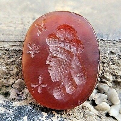 ANTIQUE Carnelian Roman Intaglio Side Face Man w/ Beard&Long Turban Signet Stamp