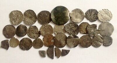 A GROUP of ENGLISH HAMMERED SILVER COINS - UNSORTED, AS FOUND !