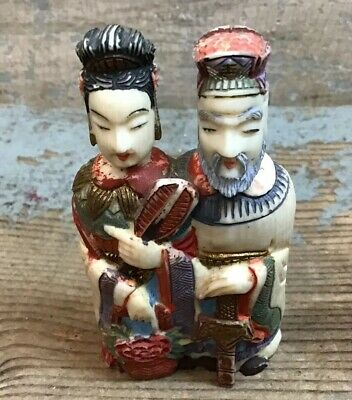 Antique Carved Asian Figurative Snuff Bottle Man / Woman
