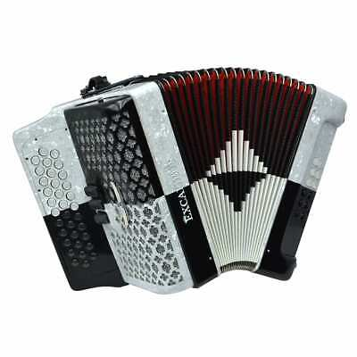 Excalibur Super Classic PSI 3 Row Button Accordion 3 Switch - Black/White