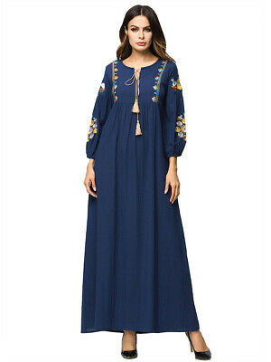 Embroidery Muslim Women Abaya Dress Vintage Long Maxi Cocktail Party Gown Jilbab