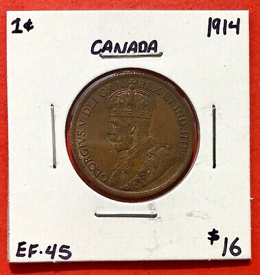 1914 Canada Large One Cent Coin - EF/AU