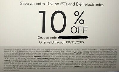 Dell - Alienware 10% Off Coupon: on PCs and  Dell Electronics  Expires 08/16/19