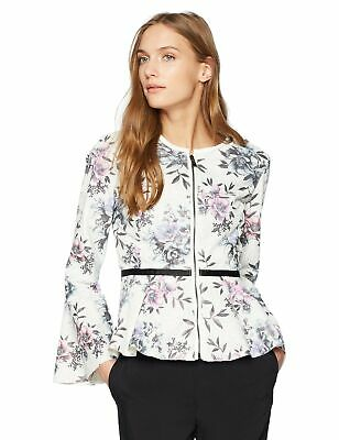 Bagatelle Women's Perforated Peplum Faux Leather Jacket with Floral Print, Small