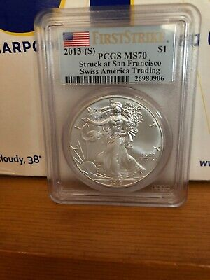 2013-S PCGS MS 70 First Strike Swiss America Trading American Silver Eagle