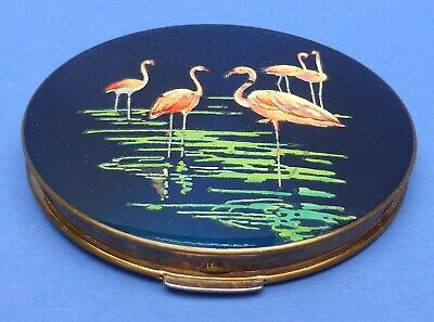 Lovely Vintage Stratton Flamingos Powder Compact 1940s/50s