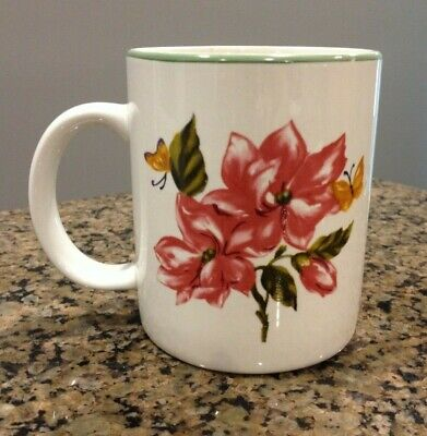 Botanical Garden Tabletops Unlimited coffee cup mug, floral with butterflies
