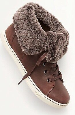 79a306aee57 UGG AUSTRALIA CROFT LUXE QUILT Espresso Brown LEATHER SHEEPSKIN Cuff ...