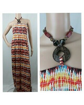 Apple Bottoms Womens Multicolored Halter Necklace Maxi Dress Tube Top Stretch XL