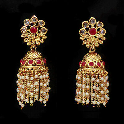 Indian Ethnic Gold plated Bollywood Jewelry Red Pearl Jhumka Jhumki Earring Set