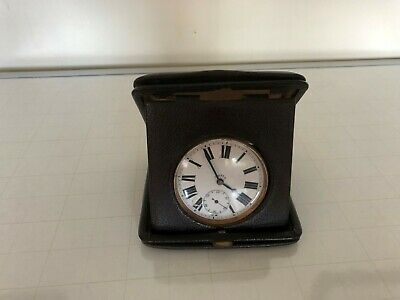 Great 8 Day Travel Clock In A Leather Cover (Brevet) Great Working Condition