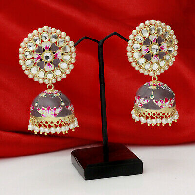 Indian Bollywood Meenakari Jhumka jhumki Pakistani Earrings Rakhi Special Gift