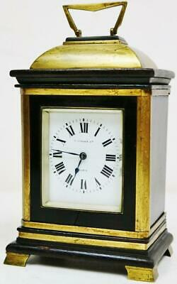 Antique French 8 Day Striking Ebony & Brass Carriage Clock Platform Escapement