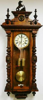 Antique Carved Walnut Twin Weight Regulator 8 Day Gong Strike Vienna Wall Clock