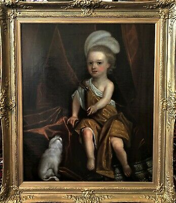 1700'S Charming Oil On Canvas Portrait Painting Of A Young Boy And His Dog