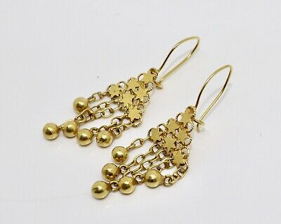A Fine Pair of Victorian Style Vintage 14ct Gold Star & Ball Dropper Earrings