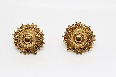 A Stunning Pair of Antique Victorian 9ct 375 Yellow Gold Stud Earrings #13849